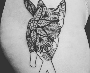 cat lace design tattoo
