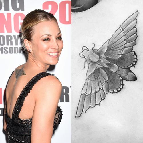 kaley cuoco moth back tattoo