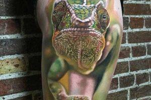 3D Chameleon Tattoo