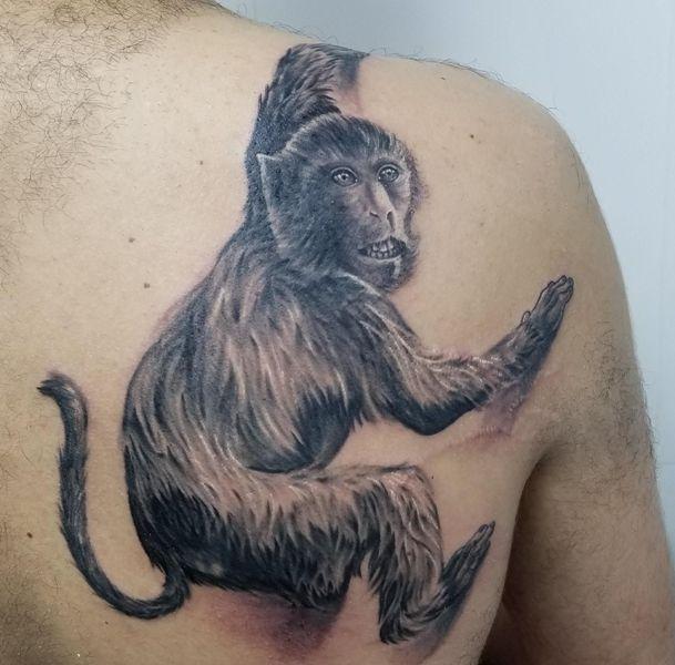 3D Monkey Tattoo