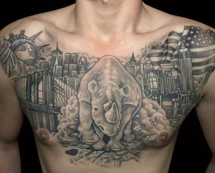 City- Theme Rhinoceros Tattoo
