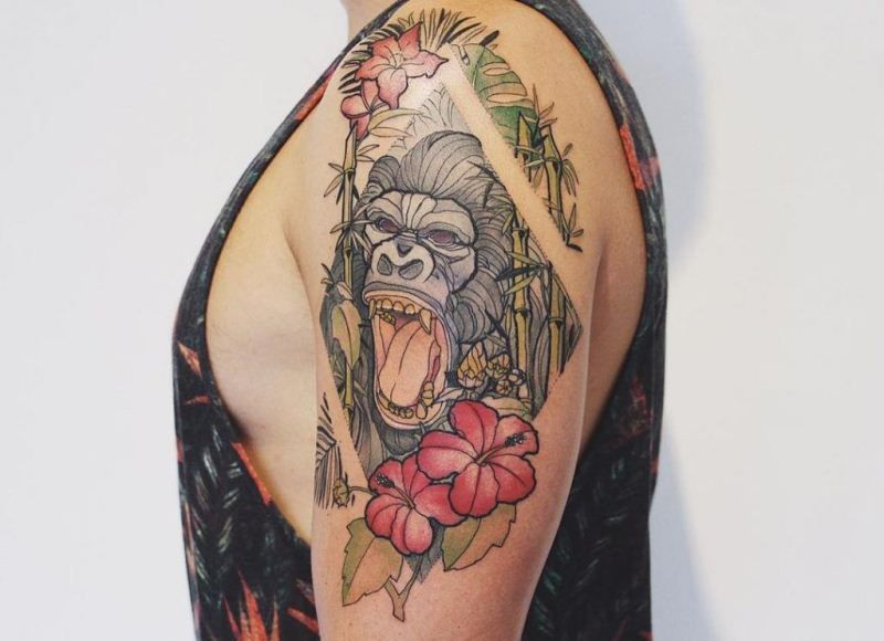Floral Gorilla Tattoo