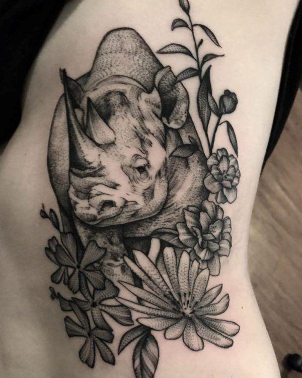 Floral Rhinoceros Tattoo