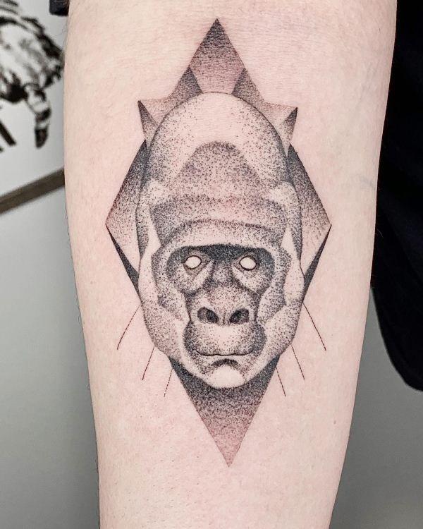 Geometric Gorilla Tattoo