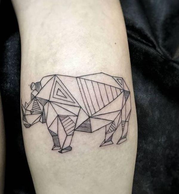 Geometrical Rhinoceros Tattoo