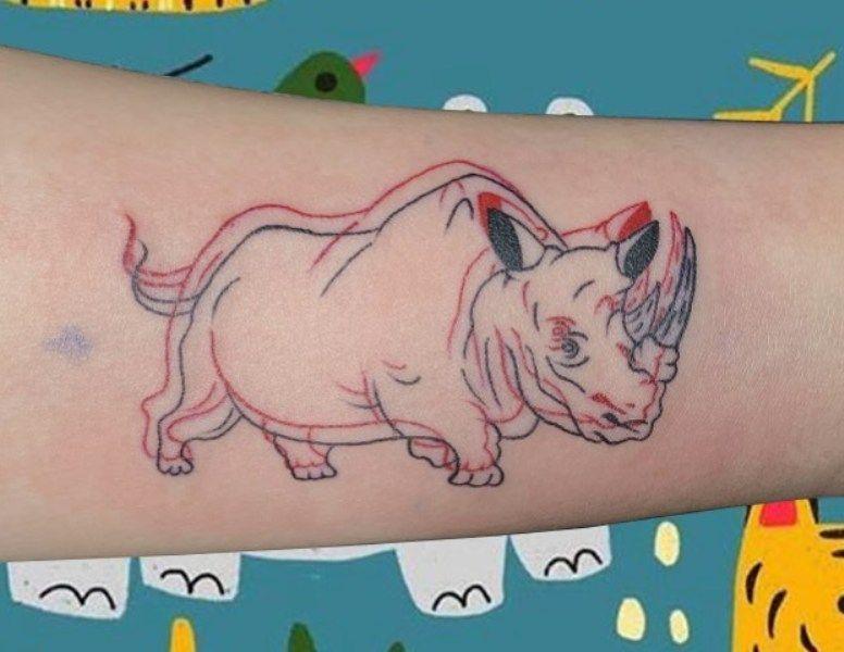 Glitch Rhinoceros Tattoo