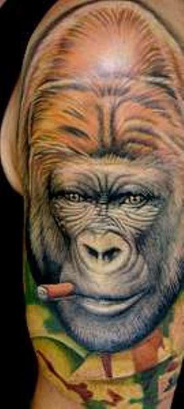 'Gorilla smoking Cigarette' Tattoo