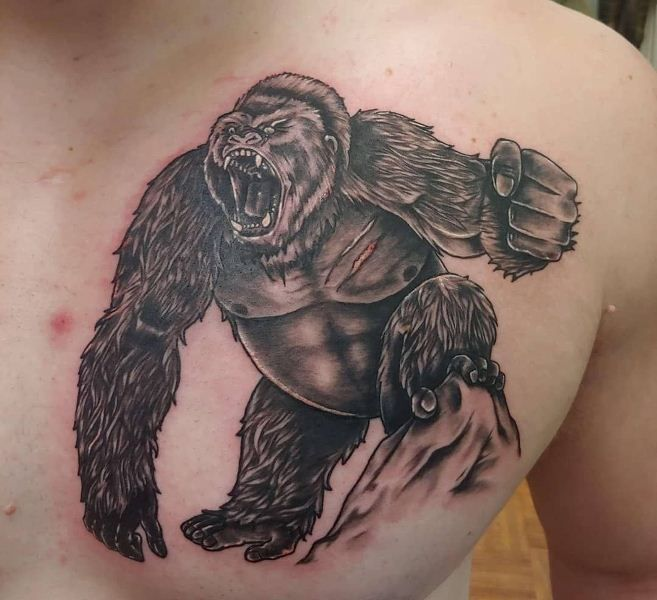 'Gorilla with Angry Face' Tattoo