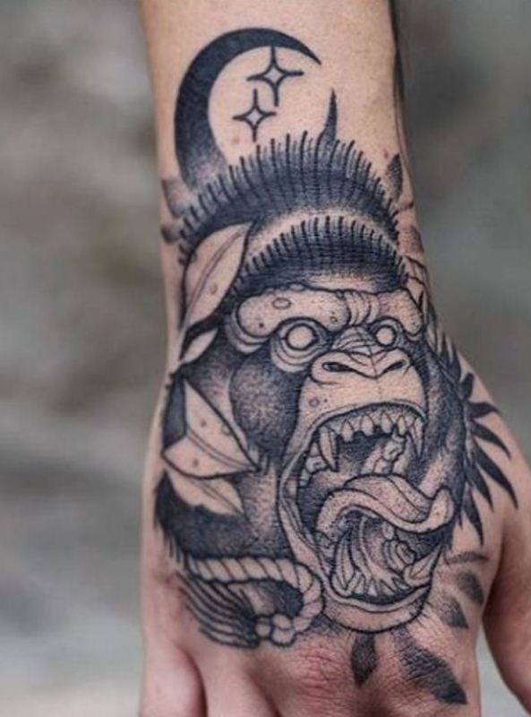 'Gorilla with Crescent Moon and Stars' Tattoo