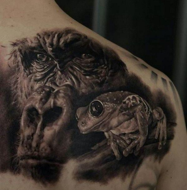 'Gorilla with Frog' Tattoo