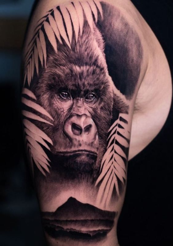 'Gorilla with Leaves' Tattoo