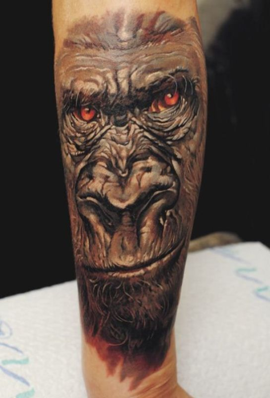 'Gorilla with Red-Eyes' Tattoo