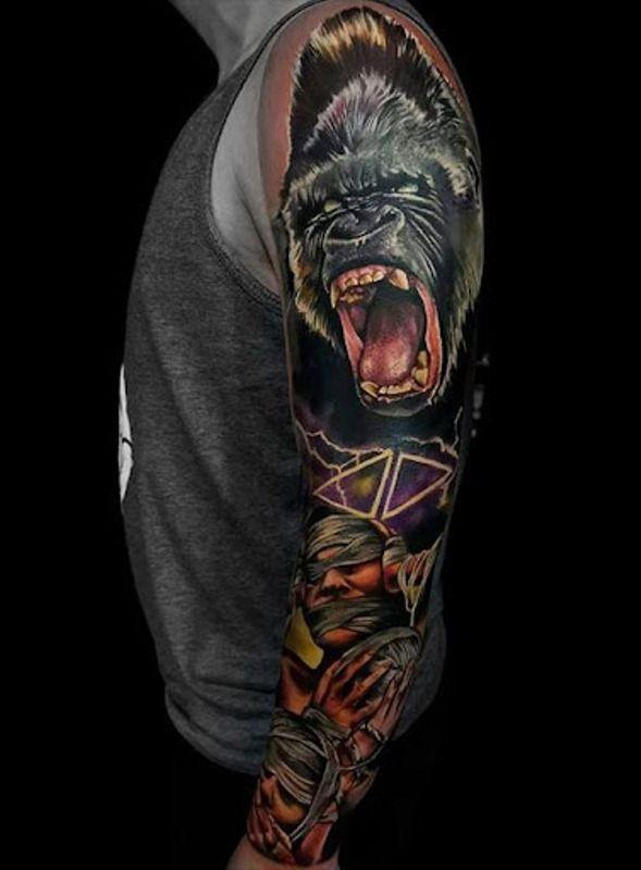 'Gorilla with Three Men' Tattoo