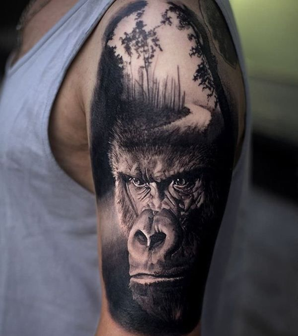 'Gorilla with a Track' Tattoo