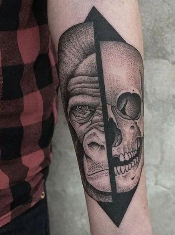 'Half-Gorilla and Half-Skull' Tattoo