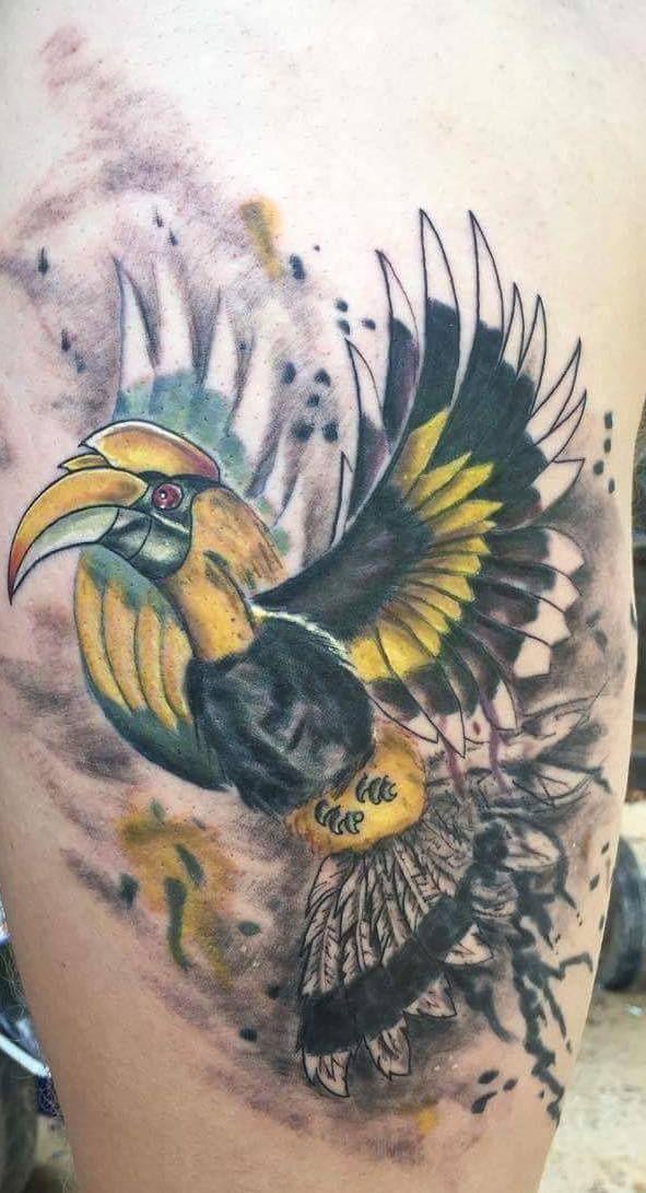 Hornbill Splatter Tattoo