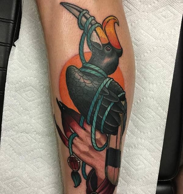 'Hornbill Tied with a Rope' Tattoo