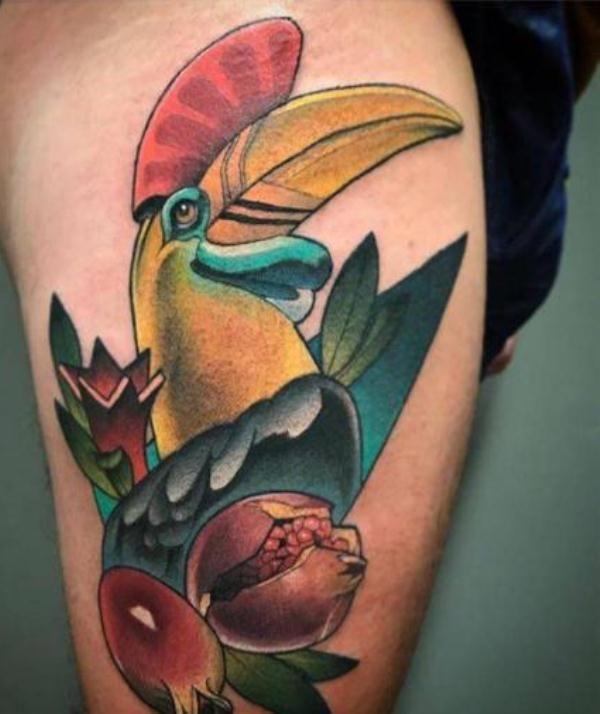 'Hornbill with Pomegranates' Tattoo