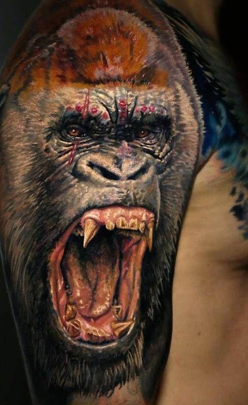Howling Gorilla Tattoo