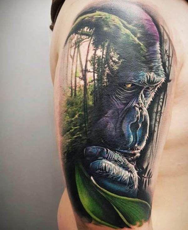 Jungle-Theme Gorilla Tattoo