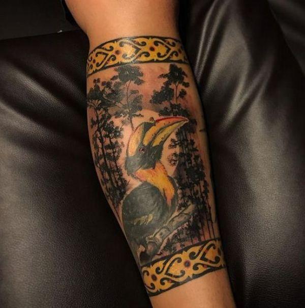 Jungle-Theme Hornbill Tattoo