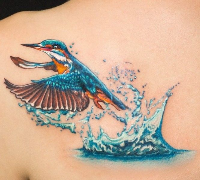 'Kingfisher coming out of Water' Tattoo