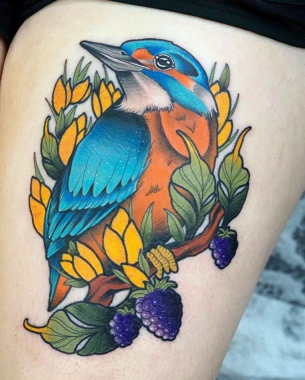'Kingfisher with Berries' Tattoo