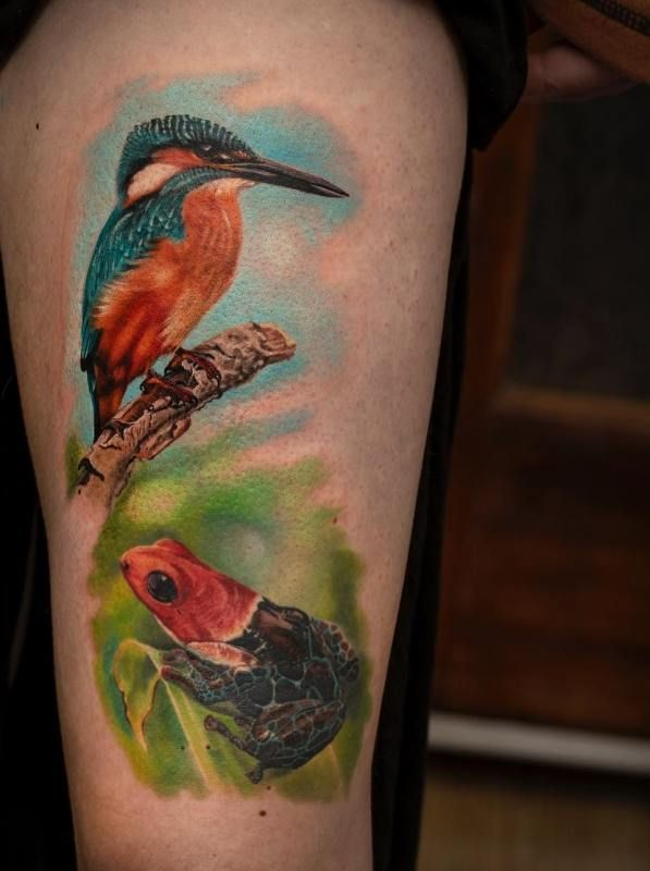'Kingfisher with Frog' Tattoo