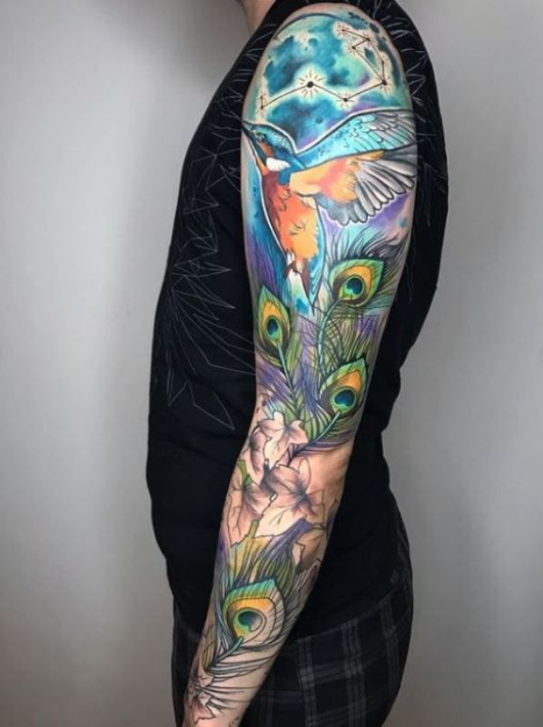 'Kingfisher with Peacock Feathers' Tattoo