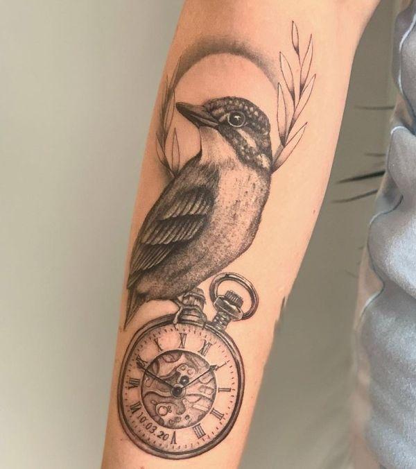 'Kingfisher with Pocketwatch' Tattoo