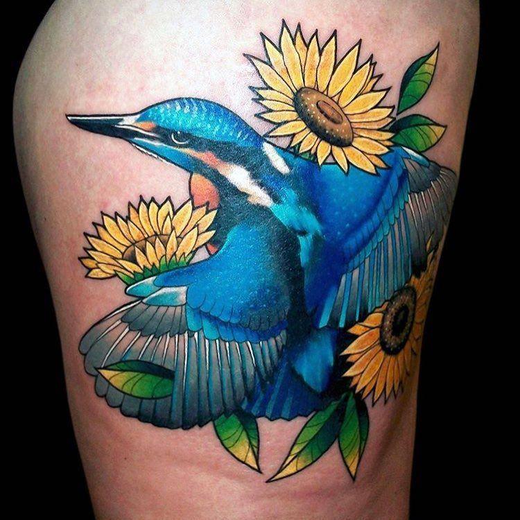 'Kingfisher with Sunflowers' Tattoo