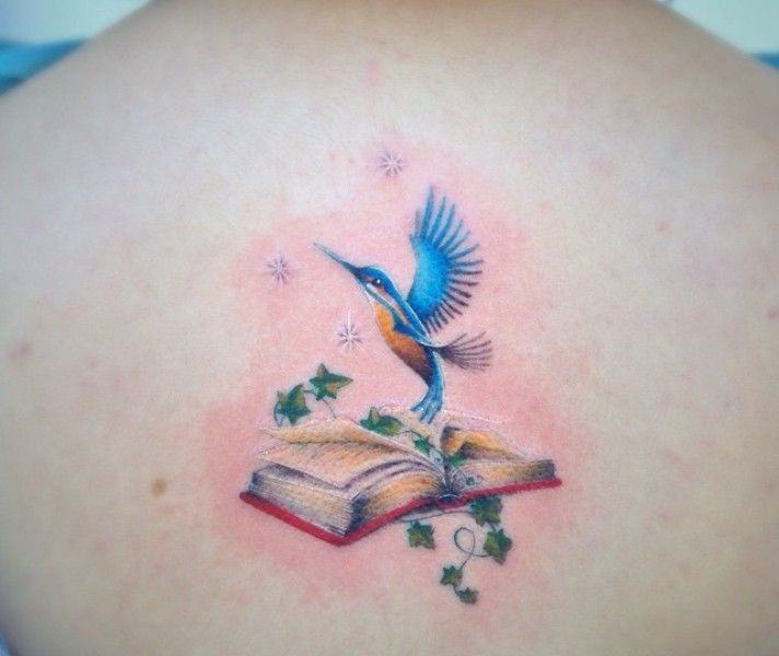 'Kingfisher with the Book' Tattoo