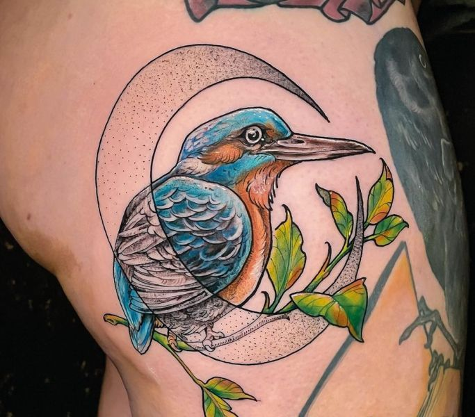 Kingfisher with the Crescent Moon and Leaves' Tattoo