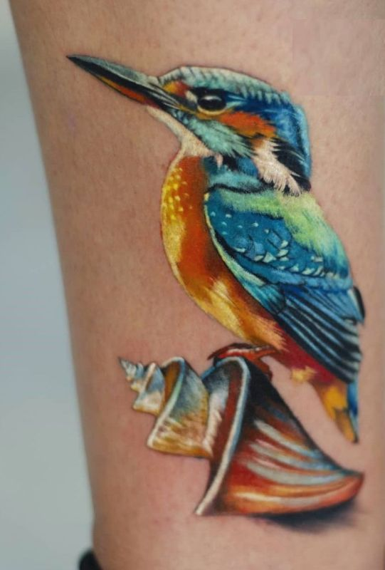 'Kingfisher with the Shell' Tattoo