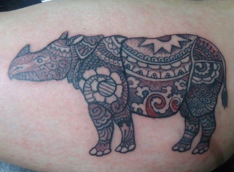 Mandala Rhinoceros Tattoo