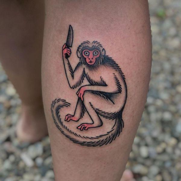 'Monkey holding a Knife' Tattoo