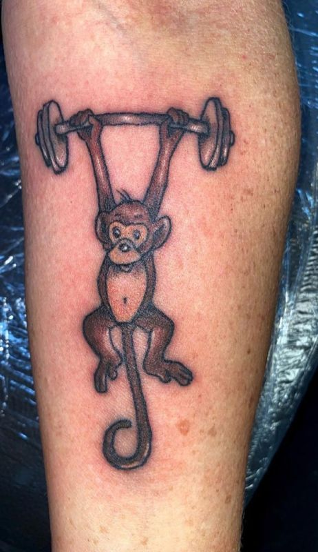 'Monkey lifting Weight' Tattoo