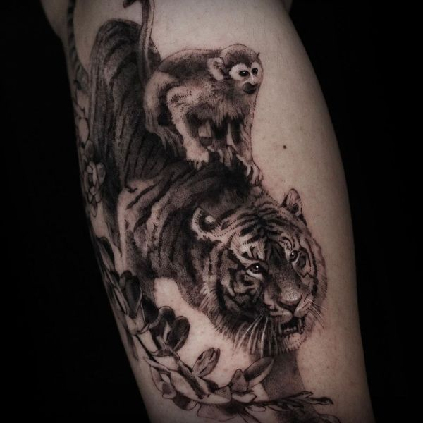 'Monkey riding a Tiger' Tattoo