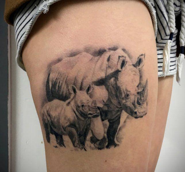 'Mum and Baby Rhino' Tattoo