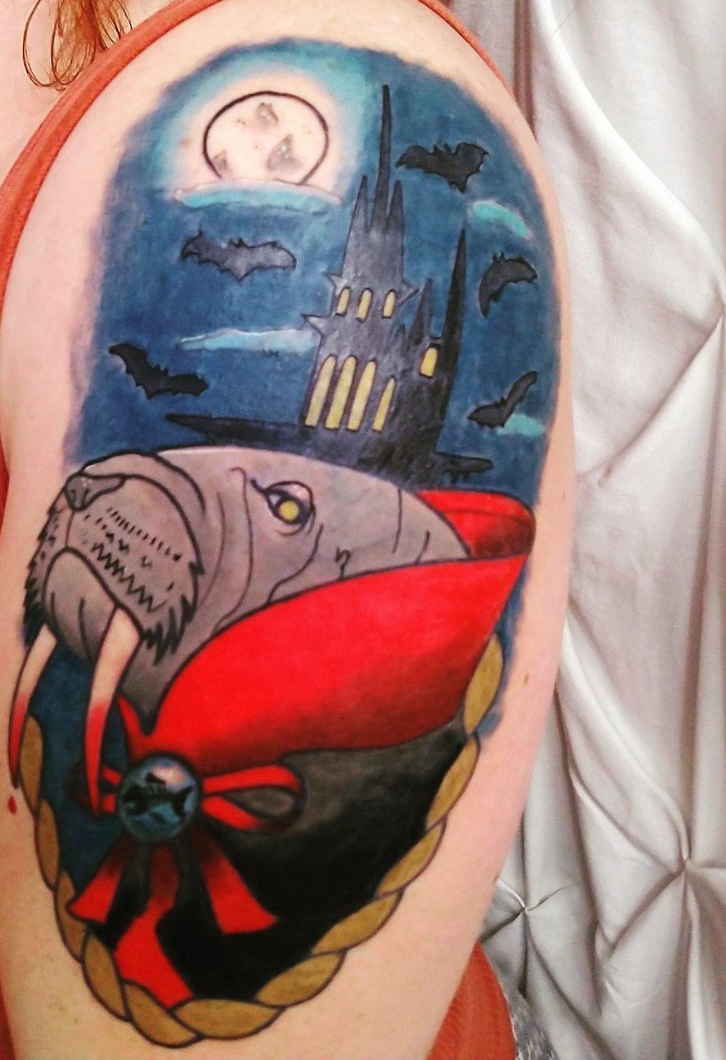 Night-Theme Walrus Tattoo