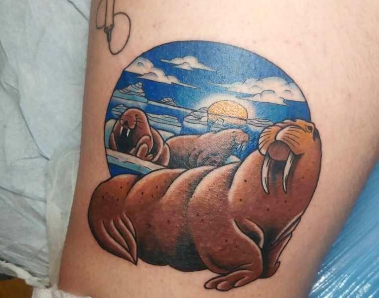 Ocean-Theme Walrus Tattoo