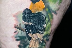 Realistic Hornbill Tattoo