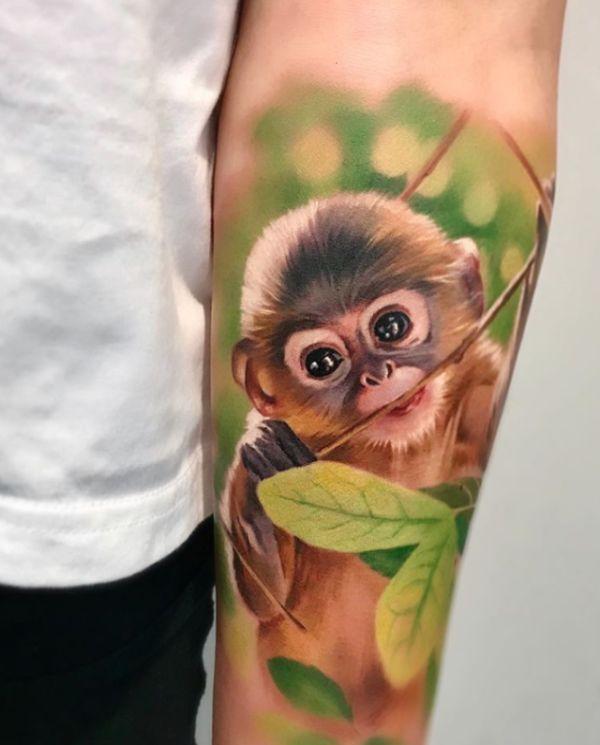 Realistic Monkey Tattoo