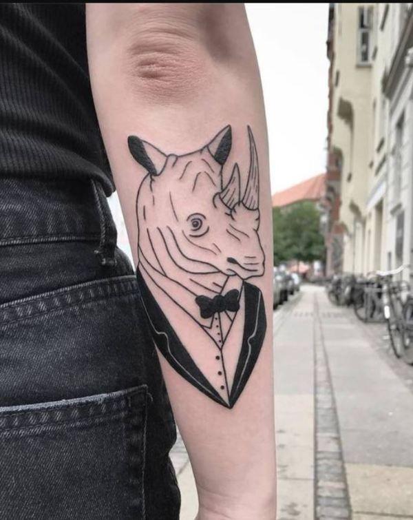 'Rhino wearing Tuxedo' Tattoo