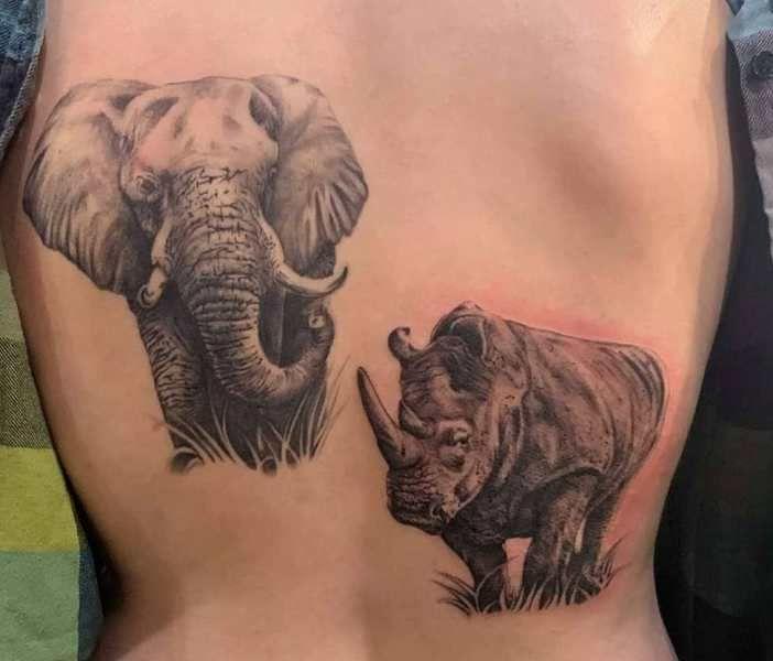 Rhinoceros- Elephant Tattoo