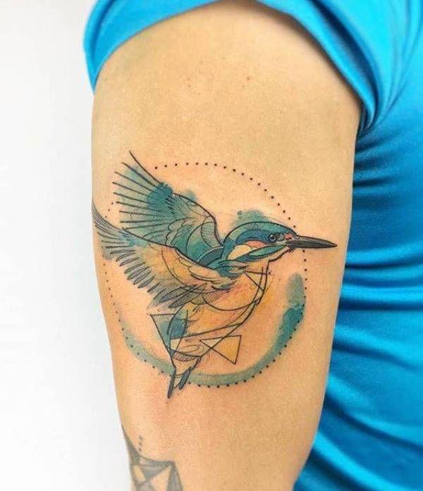 Sketched Kingfisher Tattoo