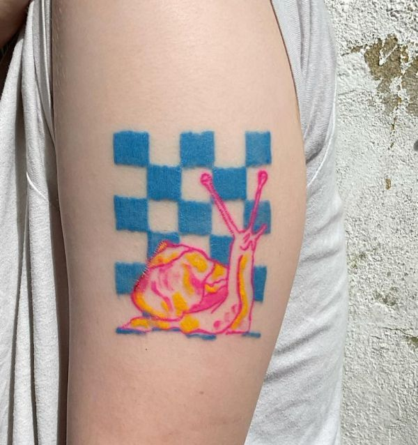 'Snail and Checkboard' Tattoo