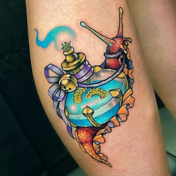 'Snail carrying a Scent Bottle' Tattoo