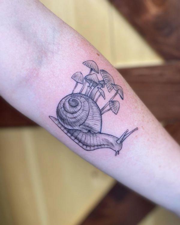 'Snail with Mushrooms' Tattoo
