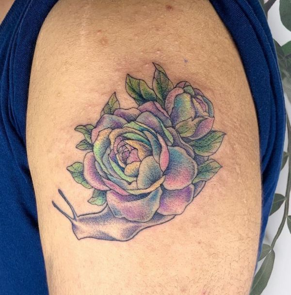 'Snail with Rose-Pattern' Tattoo